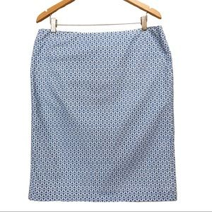 Talbots Eyelet Pencil Skirt Career Blue & White 14